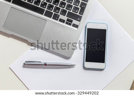Open laptop, business devices
