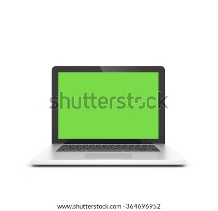 Open laptop isolated on white background. 3D render. - stock photo