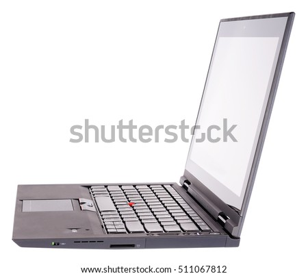 Open laptop (notebook) side isometric view, isolated on the white
