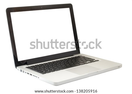 open laptop on an white background - stock photo