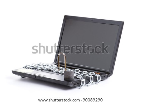 Open laptop security whit chain and padlock isolated - stock photo