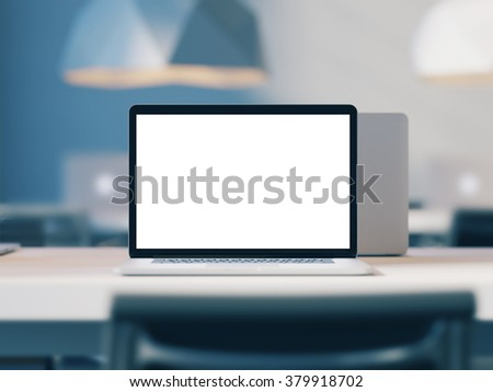 Open laptop with empty screen workspace in loft office. 3d render - stock photo