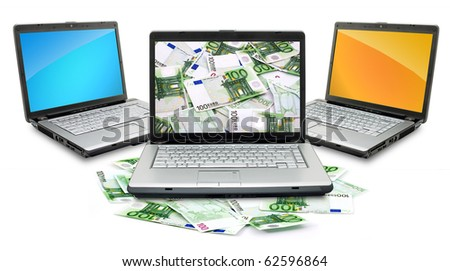 Open laptop with money  isolated on white background - stock photo