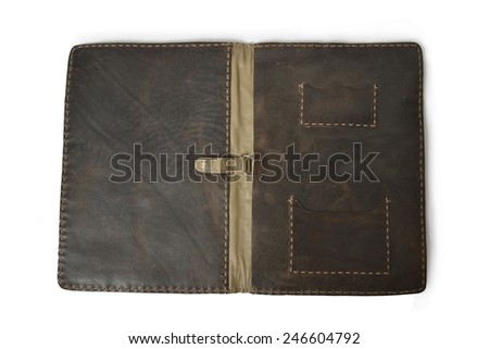 Open leather folder isolated against white background - stock photo