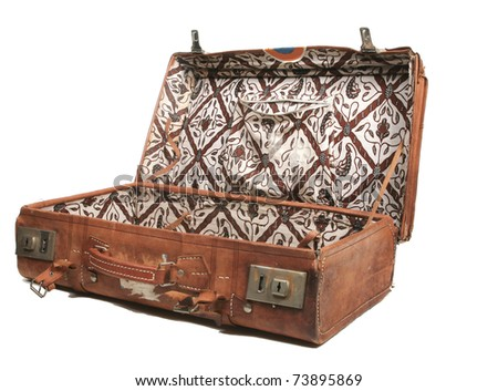 Open leather suitcase - stock photo