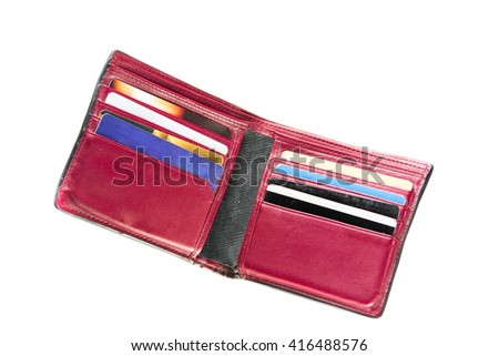Open leather wallet with caredit card - stock photo