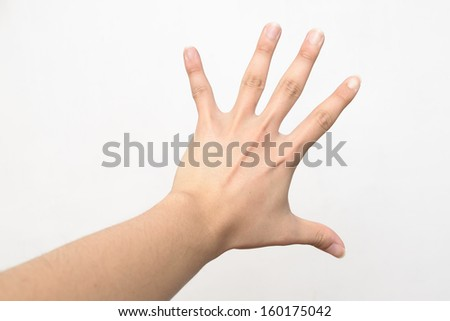 Open left hand over white background  - stock photo