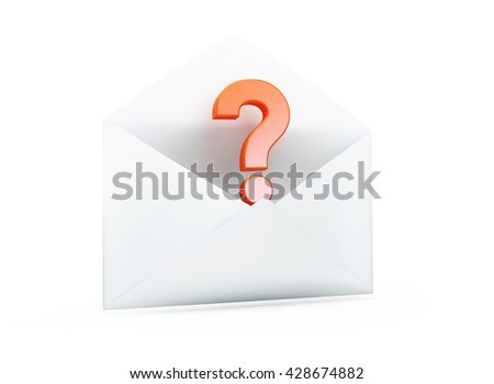 open letter with a question mark 3D illustrationon a white background - stock photo
