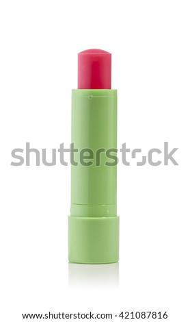 open lip balm on a white background - stock photo