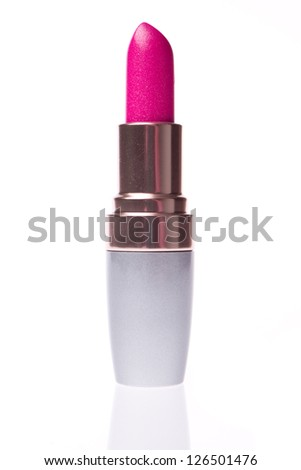 open lipstick isolated on white background - stock photo