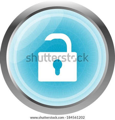 open lock glossy button isolated over white background