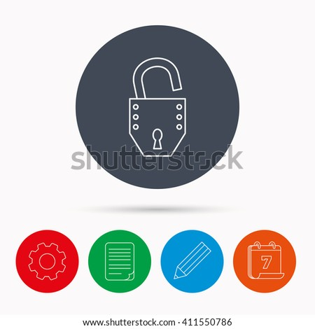 Open lock icon. Padlock or protection sign. Password symbol. Calendar, cogwheel, document file and pencil icons. - stock photo