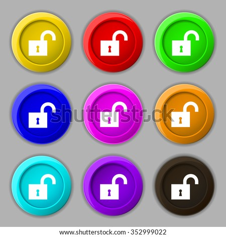 open lock icon sign. symbol on nine round colourful buttons. illustration - stock photo