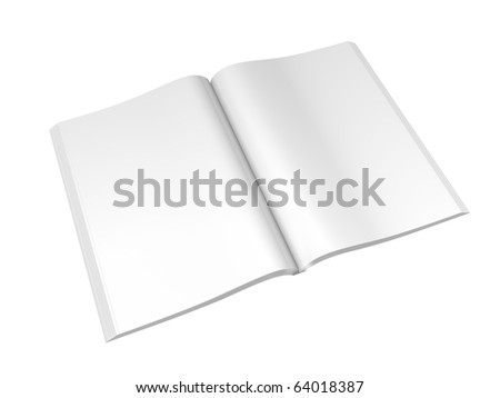 Open Magazine Spread Isolated On White. Clipping paths