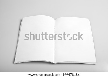 Open magazine with blank white pages mockup