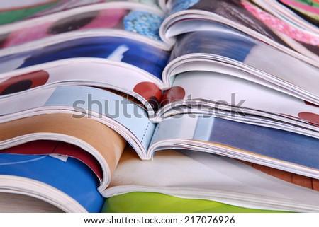 Open magazines close up - stock photo