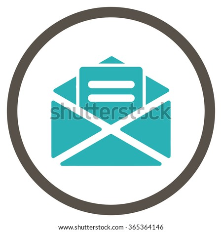 Open Mail glyph icon. Style is bicolor flat circled symbol, grey and cyan colors, rounded angles, white background. - stock photo