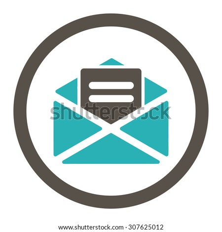 Open mail glyph icon. This rounded flat symbol is drawn with grey and cyan colors on a white background. - stock photo
