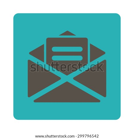 Open mail icon. Glyph style is grey and cyan colors, flat rounded square button on a white background. - stock photo
