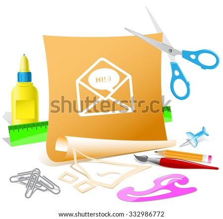 open mail with chat. Paper template. Raster illustration. - stock photo