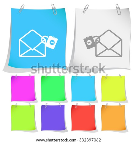 open mail with lock. Raster note papers. - stock photo
