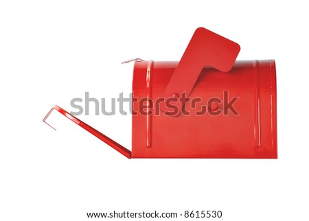open mailbox isolated on white background - stock photo
