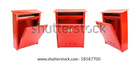 Open mailbox red - stock photo