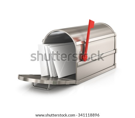 Open  mailbox  with letters  isolated on white background - stock photo