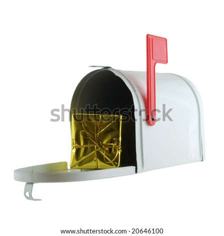 Open mailbox with present inside isolated on white - stock photo