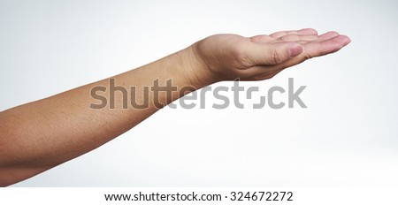 Open man hand on white background, with clipping path - stock photo