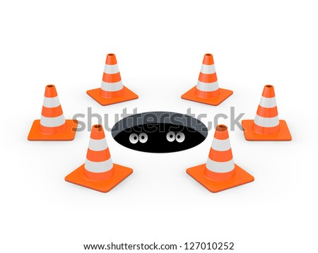 Open manhole blocked off with traffic cones, with two pairs of cartoon eyes inside (3D render) - stock photo