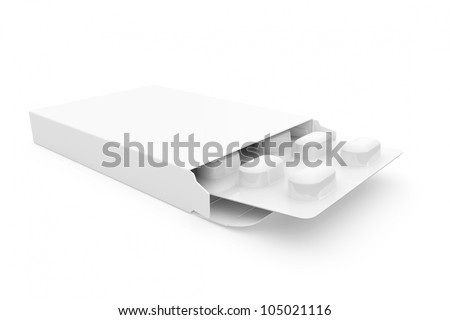 Open medicine packet with blank label opened at one end to display a blister pack of white tablets, illustration on white - stock photo
