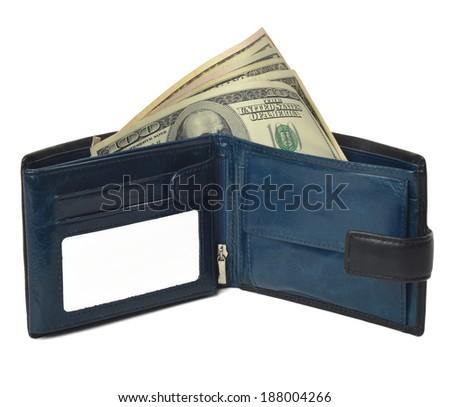 Open men's wallet  with dollars - stock photo