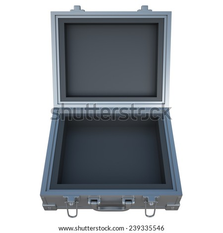 Open metal case isolated on white background. High resolution 3d