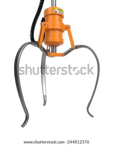 Open Metal Robotic Claw in Yellow Color Isolated on White Background. Side View. - stock photo
