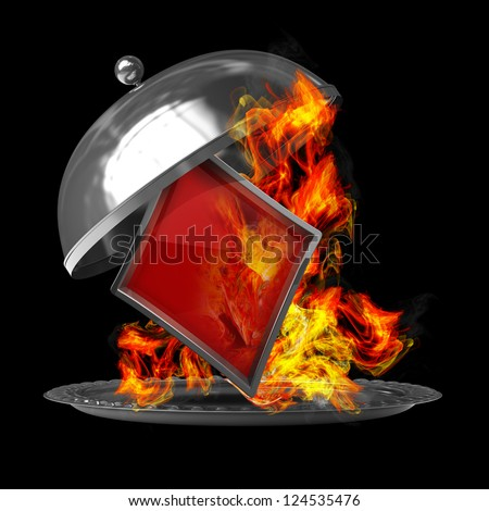 Open metal silver platter or cloche with card sign in Fire. isolated on black background. High resolution 3d render