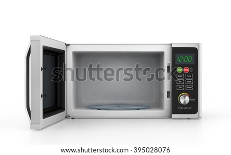 Open microwave oven isolated on a white background.