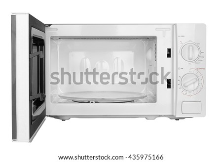 open microwave oven isolated on a white background