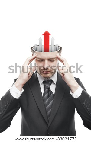 Open minded man with five arrows pointing up.Conceptual image of a open minded man.Isolated on a white background - stock photo