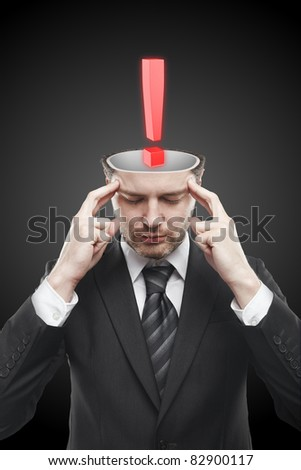 Open minded man with Red exclamation mark inside.Conceptual image of a open minded man. - stock photo