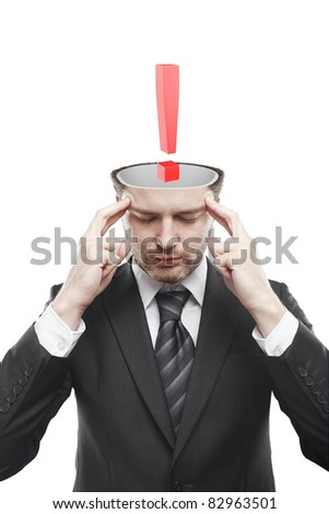 Open minded man with Red exclamation mark inside.Conceptual image of a open minded man.Isolated on a white background - stock photo
