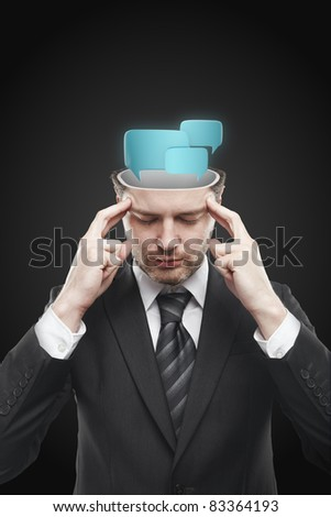 Open minded man with speech bubbles inside. Conceptual image of a open minded man. Isolated on a black background - stock photo
