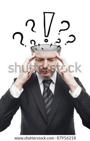 Open minded man with with exclamation mark and question marks above his head. Conceptual image of a open minded man.Isolated on a white background - stock photo