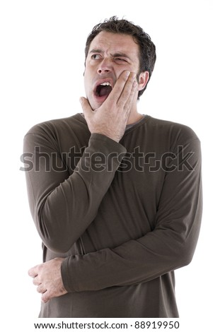 open-mouthed man complaining of toothache - stock photo