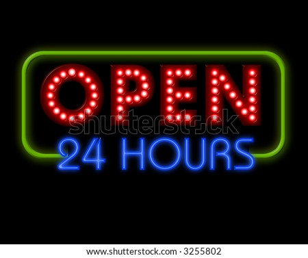 Open Neon Sign 24 hours in green surround - stock photo