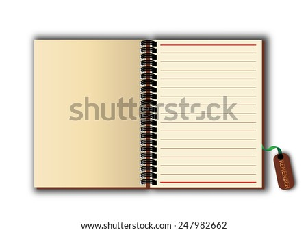 Open note  old brown - stock photo