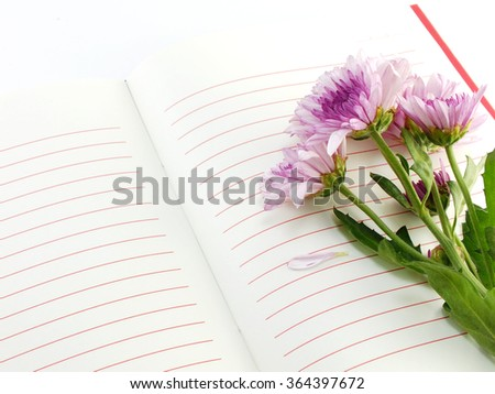 open notebook and beautiful chrysanthemums pink flowers bouquet