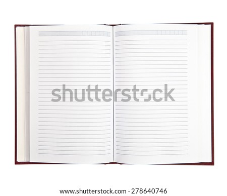 open notebook isolated on white background