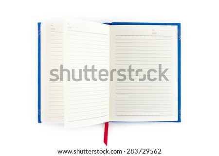 Open notebook isolated on white background - stock photo