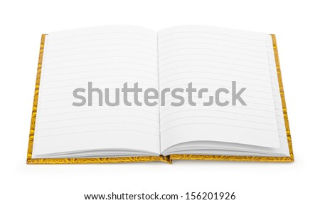 open notebook on a white background - stock photo